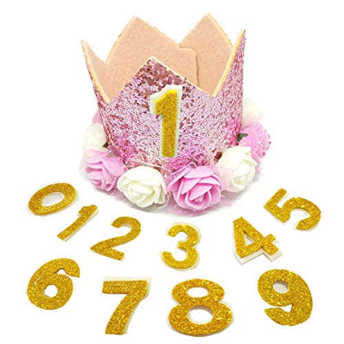 PET SHOW Crown Dog Birthday Hat for Girls Reusable Birthday Party Cat Kitten Headband with 0-9 Figures Charms Grooming Accessories with Glue Dots Pack of 1(Pink) ()