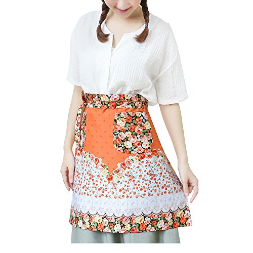 Flower Pattern Woman Waist Apron Half Bistro Aprons with 2 Pockets Home Kitchen Restaurant Cafe for Cooking Chef Servers, Orange