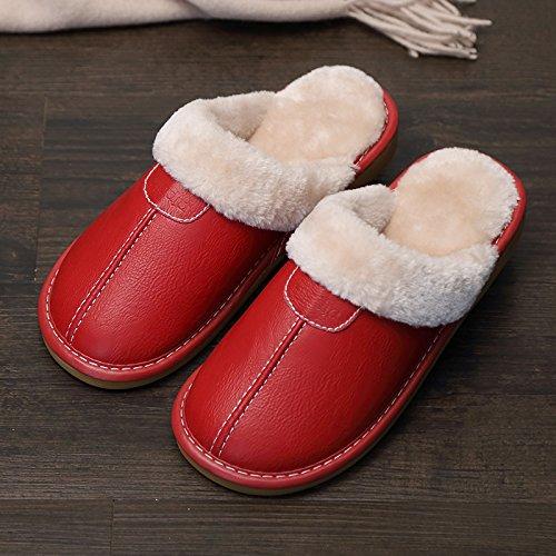 Fankou Indoor pantofole di cotone femmina pacchetto invernale con grazioso personaggio dei fumetti post-pantofole uomini cotone e ,38-39, viola (femmina)