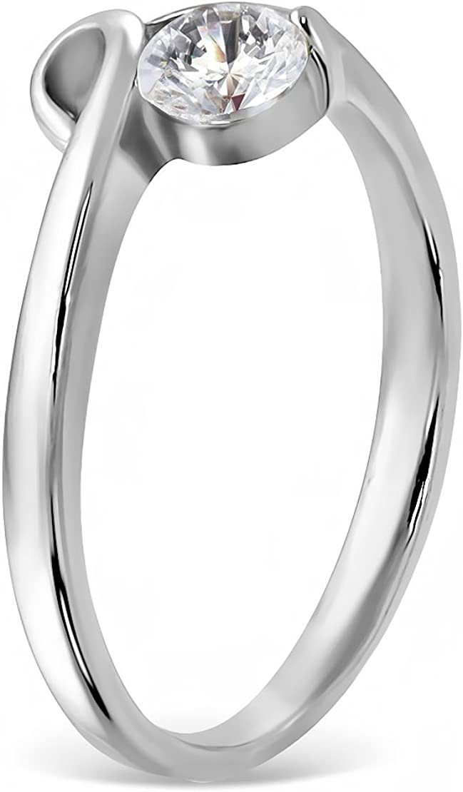 Stainless Steel Bezel-Set Engagement Ring with Clear CZ