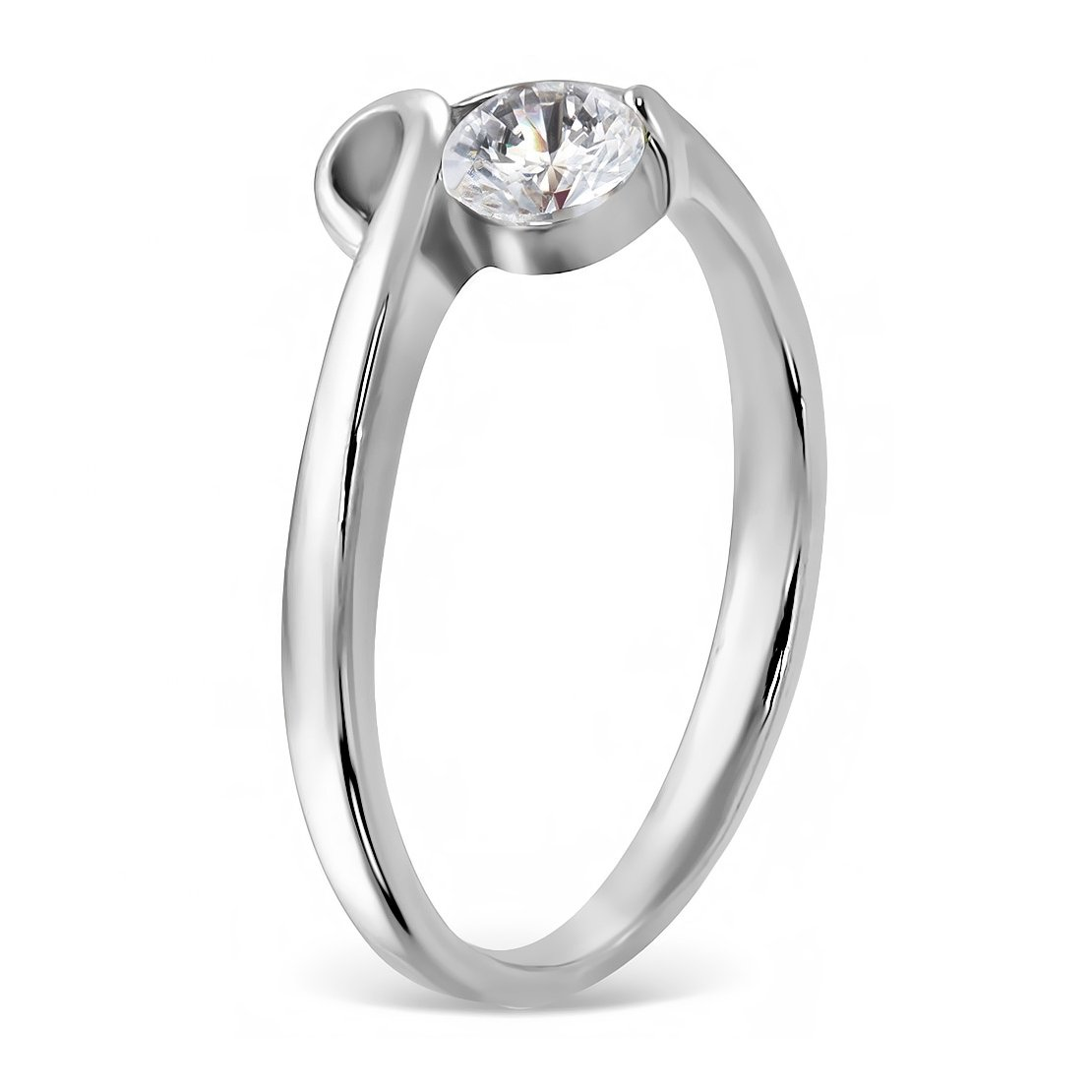 NRG Rings Stainless Steel Bezel-Set Engagement Ring with Clear CZ