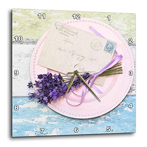 3dRose Uta Naumann Photography Stilllife - Lavender and Letter on Pink Plate on Rustic Wood- Shabby Chic Photography - 15x15 Wall Clock (Lavender Clock Plate)