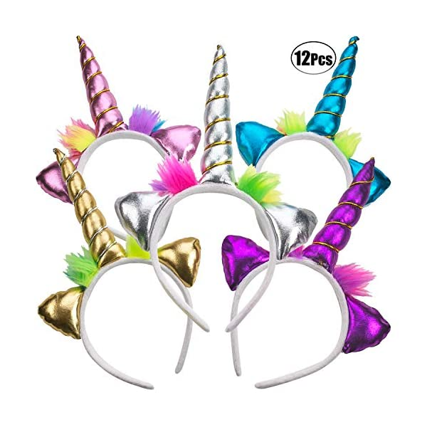 Unicorn Headband - (Pack of 12) Unicorn Headbands for Girls, Party Favors and Rainbow Unicorn Birthday Party Supplies… 3
