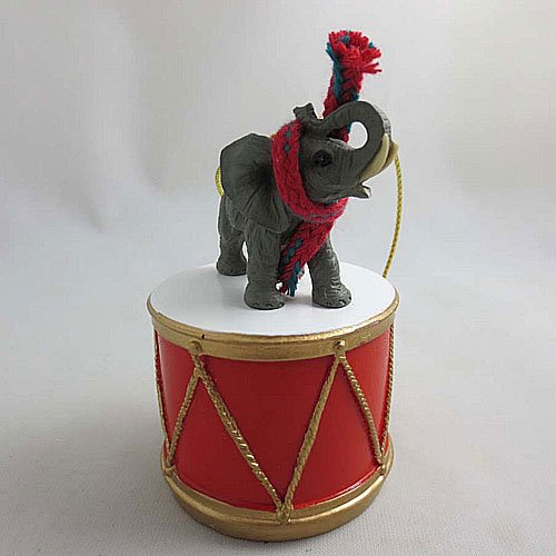 Little Drummer Elephant Christmas Ornament - Hand Painted - Delightful by Animal Den