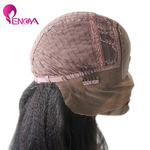 Natural Looking Italian Yaki Lace Front Wigs/ Silk Top Lace Front Wigs Best Brazilian Remy Human Hair Wigs with Baby Hair for African Americans 130 Density (10'' Silk Top Lace Front Wig)