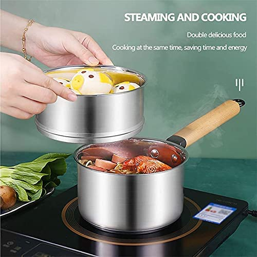 """51k5ssIBfZS. AC Pans for cooking Soup Pot Stainless Steel Steamer Cooker Food Steamer Milk Pot Steamer Pot and Pan with Glass Lid Induction Cooker for Kitchen Double Layer 18cm (Color : Double Layer, Size : 18cm)    """"Welcome to our mallHappy shopping!Our products have been thoroughly tested, inspected and packaged before delivery.If you have any questions, please feel free to contact us so that we can provide you with the best service.""""NJOLG is committed to providing premium and long-lasting cookware, which inspires your passion for cooking.Are you sick and tired of your old steamer that keeps ruining your hard work??Looking for a solid steamer set that gets the job doneOur steamer can meet all your cooking needs!?You can use it as a pot or combine these components in different steamers.?And make sure our steamer uses high quality stainless steel, providing you with a durable and healthy cooking tool.?The ebb design of the steaming grill and the multilayer composite material bottom make the food evenly heated and delicious.?It is also worth mentioning that the steamer can be compatible with a variety of cookers.Soup Pot, Stainless Steel Steamer Pot Food Steamer Milk Pot Milk Pot Steamer and Pan with Glass Lid, Induction Cooker Pan, for KitchenProduct name: Multipurpose steamerProduct material: SUS304 stainless steelProduct layers: single / double layersProduct specification: 16 / 18cmSurface technology: treatment polishing wire drawing Features: Nonstick pan, fast heat conduction, less oily smoke, energy saving and high efficiencyScope: restaurants, hotels, familiesNote: if you have any questions about the order, contact us via Amazon.?We will get back to you within 24 hours.?If you need more styles, you can search our LKDF brand.?You will have a satisfactory answer.?good day.If you are not satisfied with our products, please feel free to contact us, we will contact you within 24 hours. For more related product details, please search for """"WFGS725S""""."""
