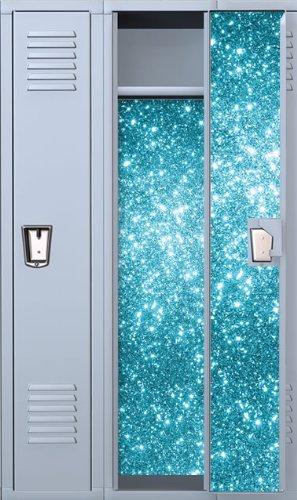 Vinyl Locker Wallpaper- 4 Pre-Cut Full Length panels with strong Magnetic hold: Sapphire Fairy Dust