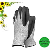 Garden Gloves for Women and Men Super Grippy with Special Protective Coating Against Cuts and Dirt Premium Breathable Waterproof Work Glove for Gardening, Fishing, Clamming, Restoration Work