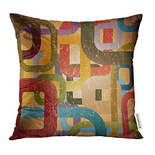 UPOOS Throw Pillow Cover Beige Wall Abstract Grunge on Brown Red Geometric Gold Decorative Pillow Case Home Decor Square 20x20 Inches Pillowcase
