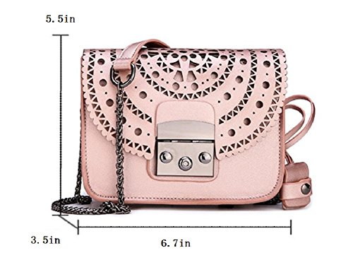 Rose JiYe Fashion By Handbags Gold Women's Lady Genuine Hollow Shoulder Leather Casual Bag vHH6xP