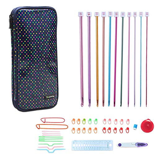 Teamoy Aluminum Tunisian Crochet Hooks Set, Afghan Kits with Case, 11pcs 2mm to 8mm Afghan Hooks and Accessories, Compact and Easy to Carry, Colorful Dots by Teamoy