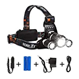 LIGHTESS Boruit LED Headlamp Rechargeable Waterproof Head Flashlight Lamp with 3 XM-L T6