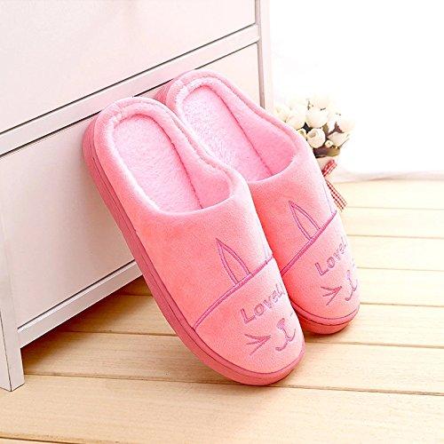 DogHaccd Zapatillas,Cálido invierno antideslizante zapatillas de algodón home interior femenina la mitad de gruesos y encantador par de zapatillas de felpa Rosa4