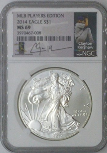 (2014 Modern Commemorative $1 MS69 NGC $1 Silver Eagle 1 Troy Oz Fine Silver .999 MLB Players Edition Clayton Kershaw MS69 NGC)