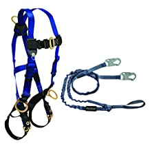 FallTech CMB18259YL Combo Kit - 7018 Harness, 8259YL Looped Lanyard, Blue/Black