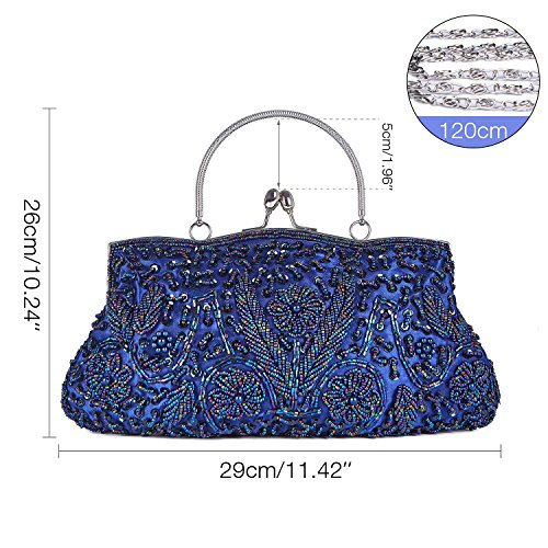 Interior Kaever Metal Lock Navy Frame Wedding Party Sequin Design Handbag Kissing Blue Satin Beaded Evening Clutch SqaFU