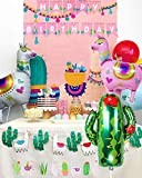 LaVenty Set of 2 Llama Happy Birthday Banner Cactus Banner Fiesta Party Decoration Mexican themed Party Supplies Kid Llama Photo Background