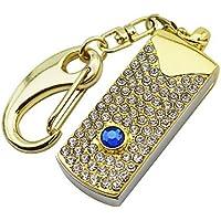 CHUYI Bling Rhinestone Diamond Crystal Glitter Pen Drive 64GB USB 3.0 Flash Drive U Disk Thumb Drive Memory Stick Data Storage Jump Drive with Key Chain Gift