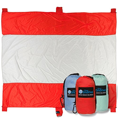 Mega Sand Proof Beach Blanket - XXL Oversized Blanket | 80% Larger than other Travel / Picnic Blankets. Huge 10' x 9.5' Family Size fits 7+ Adults. Perfect for Hiking