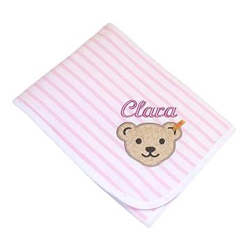 Wolldecke rosa Babydecke Pünktchen Kuscheldecke mit Namen zur Geburt//Taufe