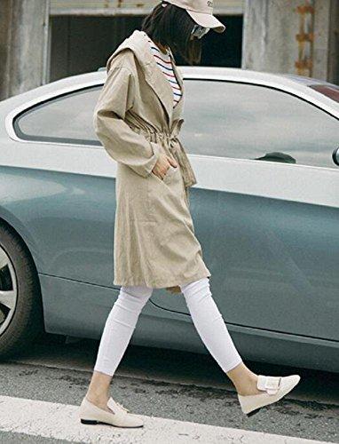Quadrato donne fibbia scarpe singolo genuino in pelle libero Slip retrò su scarpe piatte , creamy-white , 35