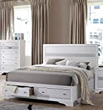 white storage bed queen - Acme Furniture ACME Naima White Queen Bed with Storage