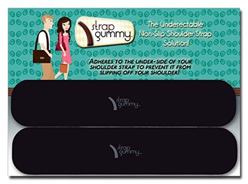 Strap Gummy The ORIGINAL Non Slip Shoulder Strap Grip Strips - SET of 4 PIECES; Large Black
