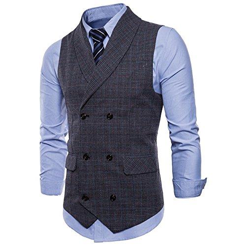 WULFUL Mens Slim Fit Double Breasted Tweed Waistcoat Business Gentleman Vintage Suit Vest Tuxedo by WULFUL