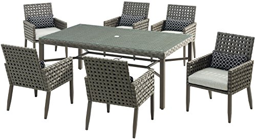 Hanover ARCHDN7PC-SLV Archer 7-Piece Patio Set with 7 Dining Chairs Outdoor Furniture, Gray