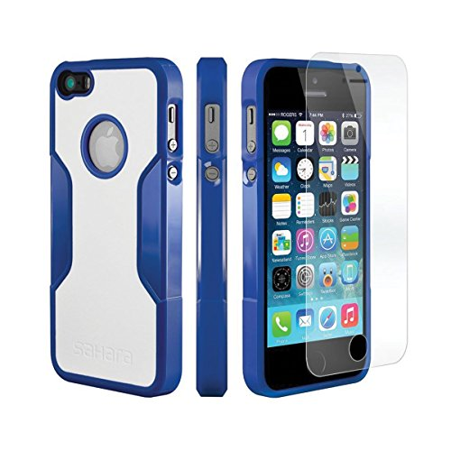 iPhone 5 5s SE Hülle, (Blau, Weiß) SaharaCase Schutz Kit Paket mit Null Schaden [ZeroDamage gehärtetes Glas Bildschirmschutz] Robuster Schutz Anti-Rutsch-Griffigkeit [Stoß sicherer Puffer] Schlanke Pa