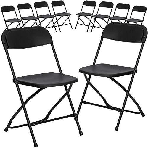 Black Folding Chair Steel - Flash Furniture 10 Pk. HERCULES Series 800 lb. Capacity Premium Black Plastic Folding Chair - 10-LE-L-3-BK-GG