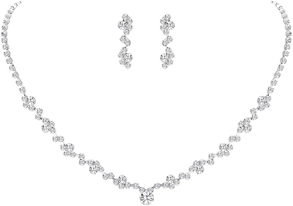 Juego de collar y pendientes con piedras de estrás brillantes para boda