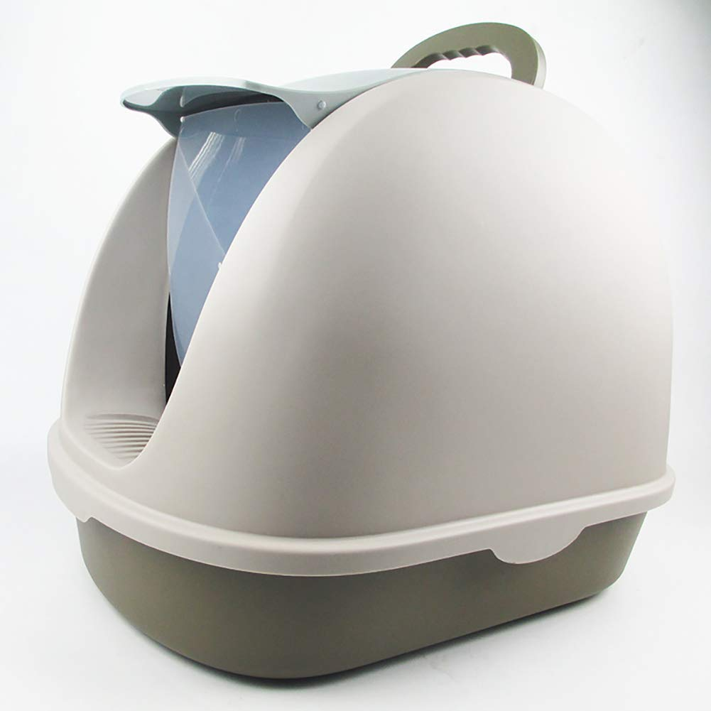 Grey Fully Enclosed Large Space Cat Toilet, with Flip Cover Designed to Prevent Cat Litter from Splashing on the Floor, Easy to Clean