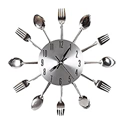 Cutlery Design Wall Clock Metal Knife Fork Spoon Kitchen Clocks Creative Modern Home Decor Antique Style Wall Watc (Silver) - Happy Hours