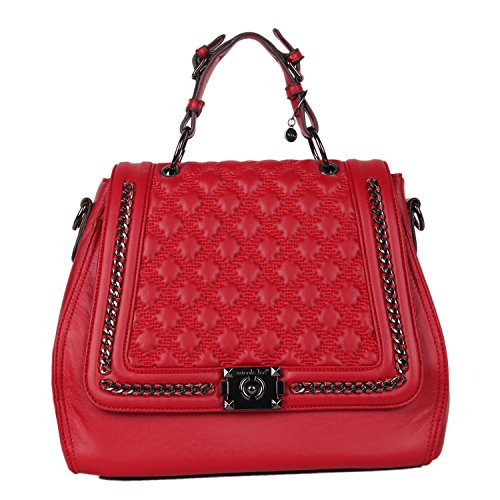 Top Handle [Red] Quilted Messenger Bag with Detachable/Adjustable Shoulder Strap