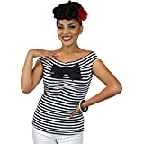 Apparel : Pinky Pinups Women's Striped Off The Shoulder Sleeveless Top Black/White