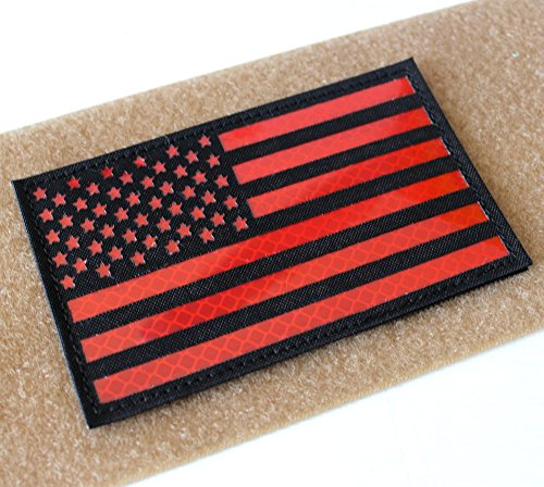 Hannah fit Reflective Black White US USA American Flag Morale Tactical SWAT Patches Hook-Fastener Backing(3x5 inch) (Black-Red)