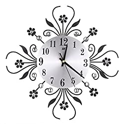 HittecH Modern Metal Wall Clock Flower Diamond Rhinestone Silent Room Home Office Decor Black