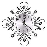 HittecH Modern Metal Wall Clock Flower Diamond Rhinestone Silent Room Home Office Decor Black