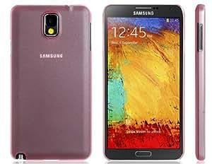 Caja de plástico transparente para Samsung Galaxy Note N9000 N9005 3 (rosa)