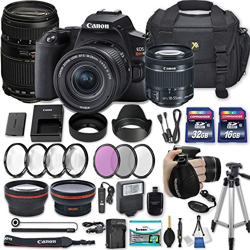 """Canon EOS Rebel SL3 DSLR Camera with EF-S 18-55mm f/4-5.6 is STM Lens + 70-300mm f/4-5.6 Lens + 2 Memory Cards + 2 Auxiliary Lenses + HD Filters + 50"""" Tripod + Premium Accessories Bundle (25 Items)"""