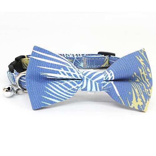 Leepets Small Dog Collar with Bow Tie Cotton Puppy Bowtie Collar for Girl Female Cute Kitten Cat Collar with Bell Adjustable Soft Comfort Padded, Extra Small/Small, Blue ()