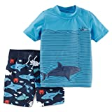 Just One You by Carters Toddler Boys' Sharks Short Sleeve Rash Guard Swim Set Blue, 18M