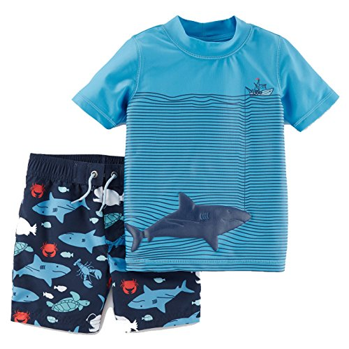 Just One You by Carters Toddler Boys' Sharks Short Sleeve Rash Guard Swim Set Blue, 5T (For 1 You)