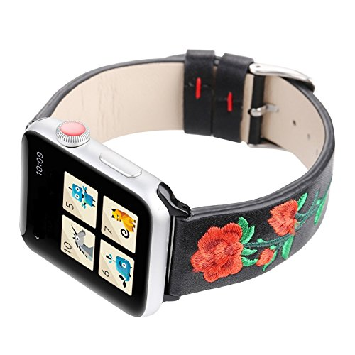 Juzzhou Band For Apple Watch iWatch Series 1/2/3 Edition Leather Embroider Flower Replacement Bracelet Wristband Wriststrap Wrist Strap With Adapter Adjustable Buckle For Woman Lady Girl Black 38mm by Juzzhou (Image #4)