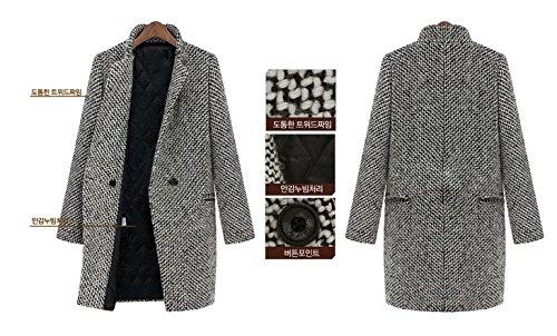 Gabardina Nonbrand Abrigo white Black and para Mujer Z76cF7f