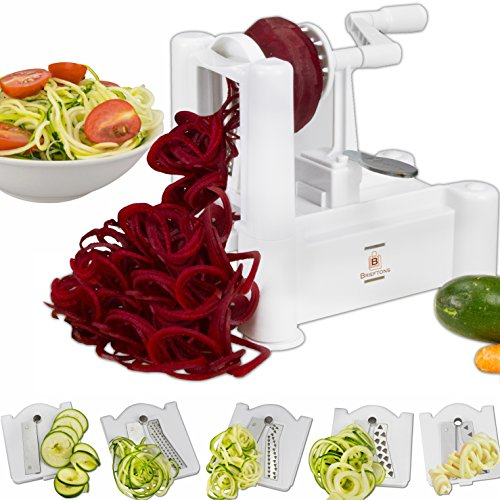 Brieftons 5-Blade Spiralizer (Classic): Strongest-and-Heaviest Duty Vegetable Spiral Slicer, Best Veggie Pasta Spaghetti Maker for Low Carb / Paleo / Gluten-Free Meals, With 3 Recipe Ebooks - White Classic Five Blade