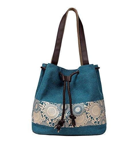 WLE A003 Blue Comfort Tote Medium Size Canvas Printing Paisley Sun Flower Pattern Design Waterproof Shoulder Bags for Women Girls Ladies