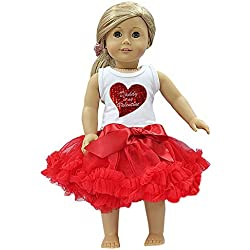 "18"" American Girl Doll Pettiskirt Daddy Is My Valentine Heart Tee 2pcs Set"