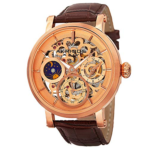 Akribos Xxiv Mens Automatic Watch - Akribos XXIV Men's AK745RG Automatic Movement Watch with Rose Gold and See Thru Dial and Brown Leather Strap